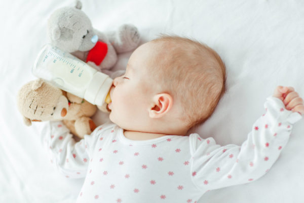 Baby sleeping with bottle